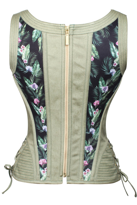 Adjustable Hip & Shoulder Strap Steel Boned Corset with Zip Back