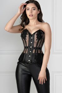 Black Mesh and Lace Appliqué Waist Taming Overbust Corset