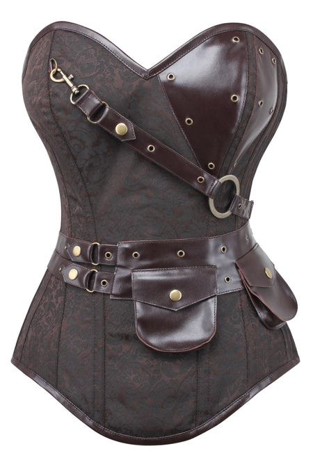 Brown Longline Steampunk Corset