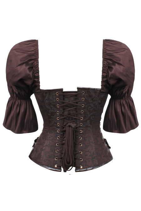 Steampunk Inspired Overbust with Short Flounce Sleeve