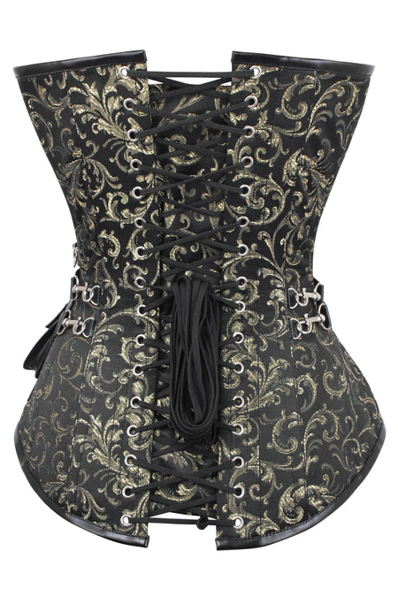 Black and Gold Longline Steampunk Corset
