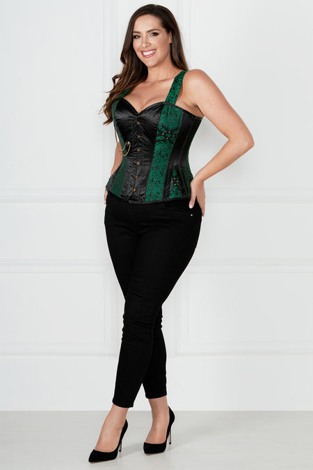 Green Gothic Corset with Shoulder Straps