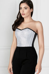 Silver Sequin And Black Satin Instant Shape Overbust