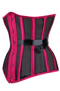 Bossy Pink Longline Mesh Underbust Corset with Fan Ribbon Lacing
