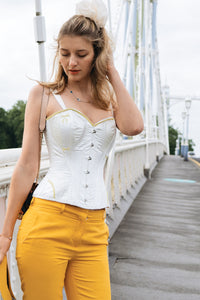 Historic Embroidered Corset with Shoulder Straps