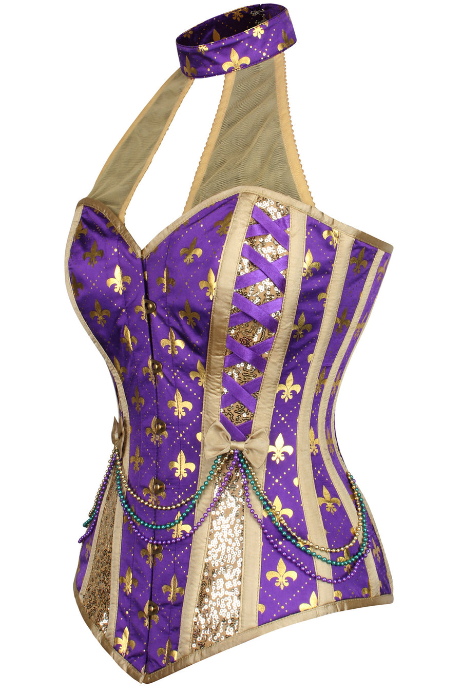 Mardi Gras - Beaded Carnival Corset with Choker
