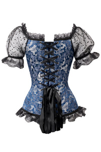 Blue Corset Top With Lace Sleeves And Black Ribbon