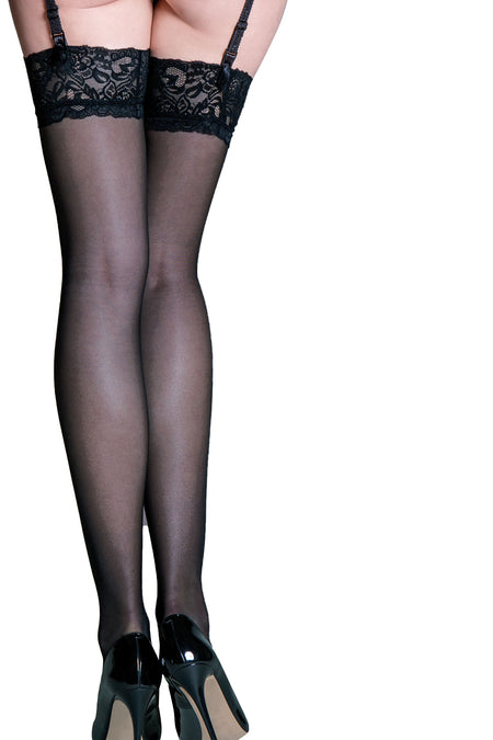 Allure Lace Top 15 Denier Stocking - Black
