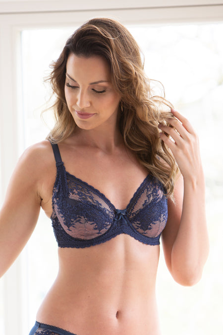 Pour Moi - Bridgette Full Cup Bra Ink/Rose Gold