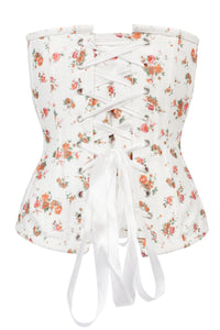 Floral Classic White Overbust With Sweetheart Neckline