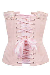 Classic Victorian Corset With Baby Pink Cotton Lace Trim And Ribbon Lacing