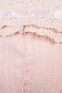 Classic Victoriana Corset With Beige Cotton Lace Trim And Ribbon Lacing