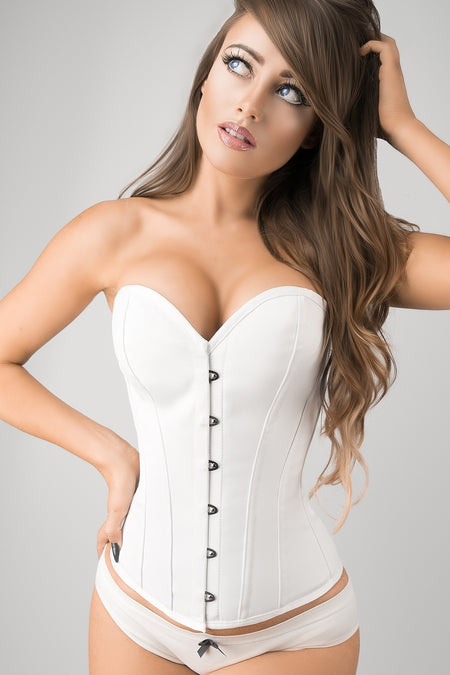 01ab1fcdc1 Instant Shape White Satin Overbust ...