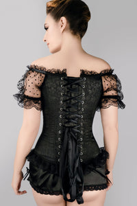 Black Brocade Overbust With Court Neck And Sleeves