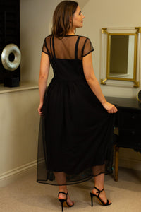 Elegant Black Tulle Evening Dress