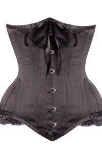 Black Satin Longline Underbust with Lace and Ribbon Bow