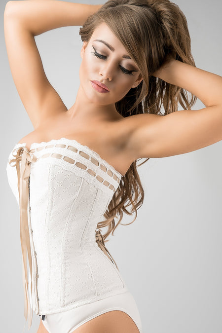 Vintage Inspired Straight Line Overbust With Ribbon Woven Through Lace Trim - Champagne