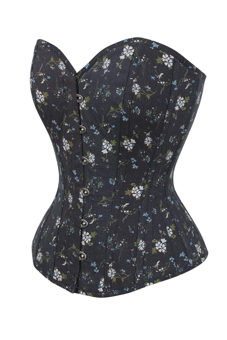 Ditsy Floral Printed Cotton Overbust Corset