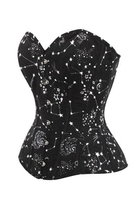 Astronomy Black Overbust Cotton Corset