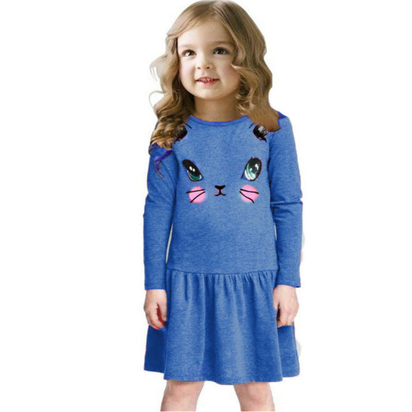 Princess Girls Cat Print Long Sleeve Party Dress - Free Shipping - NewBorn & Mom
