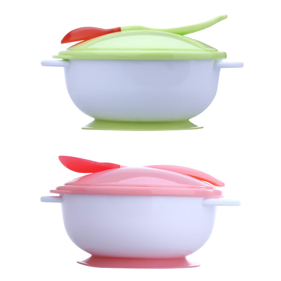 Baby Feeding Bowl With Sucker And Temperature Sensing Spoon - Free Shipping - NewBorn & Mom