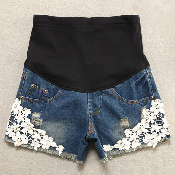 Short Maternity Lace Shorts Jeans Plus Size - Free Shipping - NewBorn & Mom