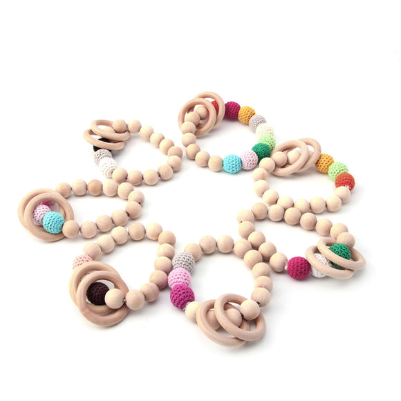 1PC Teething Natural Round Wood Bracelet Baby Teether Toy - Free Shipping - NewBorn & Mom