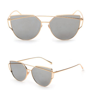 Newest Cat Eye Sunglasses Women Brand Designer Twin-Beams Sun Glasses Mirror Sunglasses Flat Panel Love Punch Clear Drop Ship