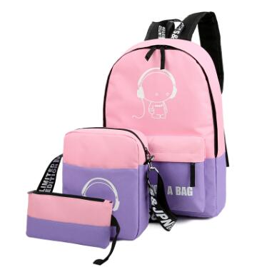 3 Piece women Backpacks Nylon School Bags