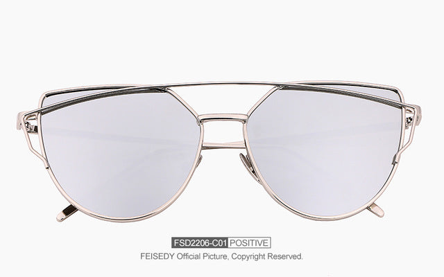 FEISEDY Fashion Brand Vintage Mirror Sunglasses For Women