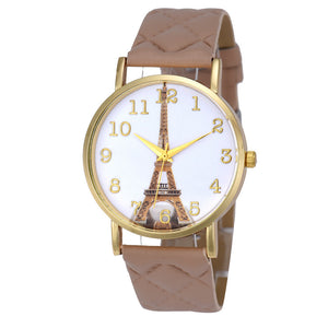 Hot Sale! 2017 Luxury Eiffel Tower Quartz Watch with Leather Wrist Band