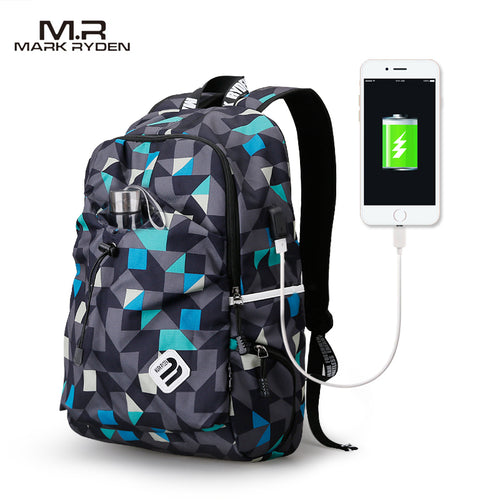 Waterproof Nylon Laptop Backpack With USB Carger