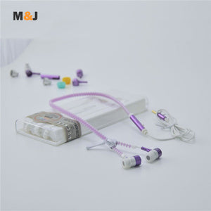 Hot sale ! M&J Glowing Light Metal Zipper Earbuds With Mic