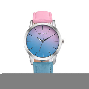 2017 Rainbow Design Alloy Quartz with Leather Band