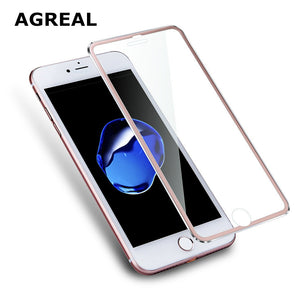 3D Aluminum alloy Tempered Glass Case for iphoneX 6 6s / 7 Plus 5 5s se 5C
