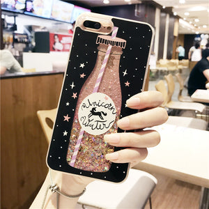 Drink Bottle Liquid Glitter Quicksand Case for iphoneX 7 7Plus 6 6s 6Plus