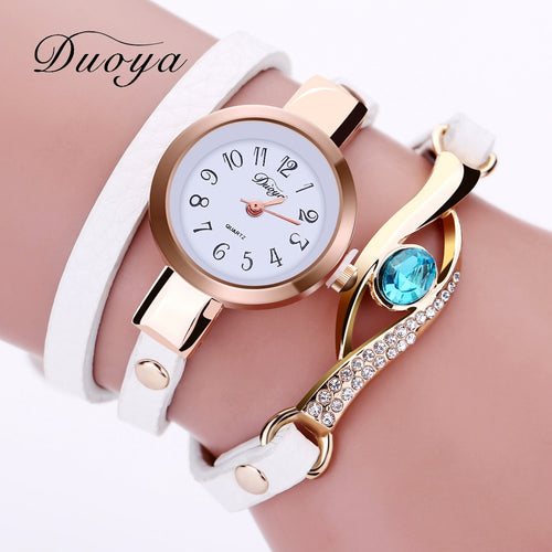 Duoya Brand Woman's Luxury Watch with Gold Eye Gemstone