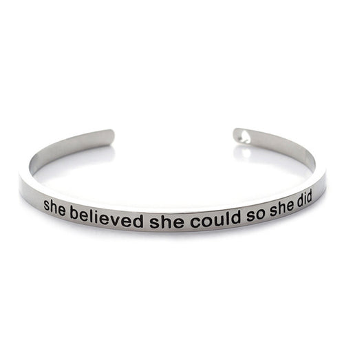 She Believed She Could So She Did Cuff Bangle - silver plated