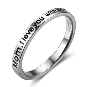 "925 Sterling Silver Rings Love Rings ""Mom l love you with all my heart"""