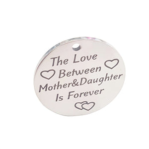 Mother&Daughter Love Heart Pattern Round Pendant