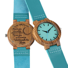 Blue Leather Band Wooden -Carving  'To My Mom/Wife' Ladies