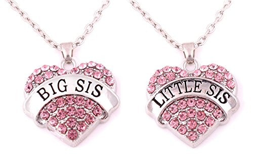 Crystal Heart Necklaces Set Mom Big Sis Middle Lil Sister