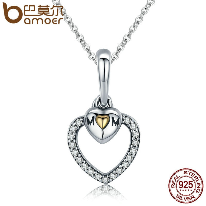 925 Sterling Silver To Mother's Love Gold Heart Pendant Necklace for Mom