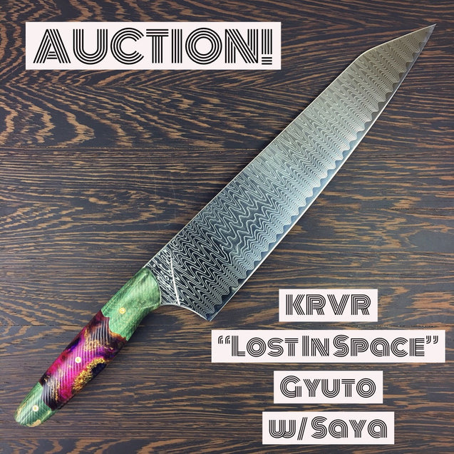 Gyuto K-tip 10in Chef's Knife - Lost in Space - Radiowave Damascus - SOLD