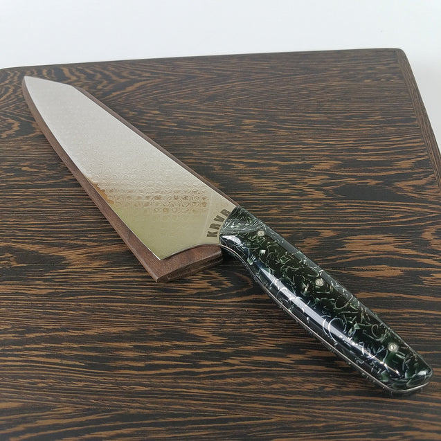 Venom - 10in (254mm) Damascus Gyuto - Dragonscale - Smooth Handle