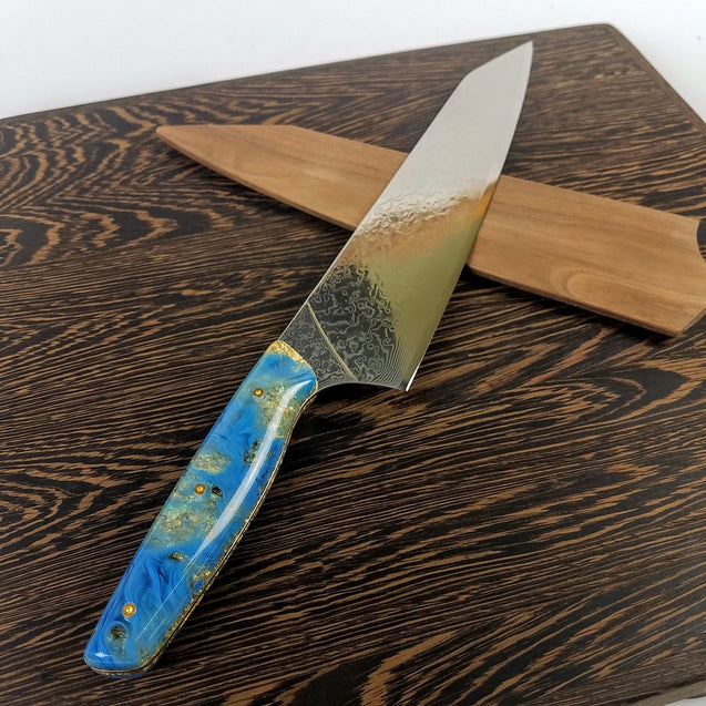 Tiffany Blue (Azure) - 10in (254mm) Damascus Gyuto - Raindrop - Smooth Handle