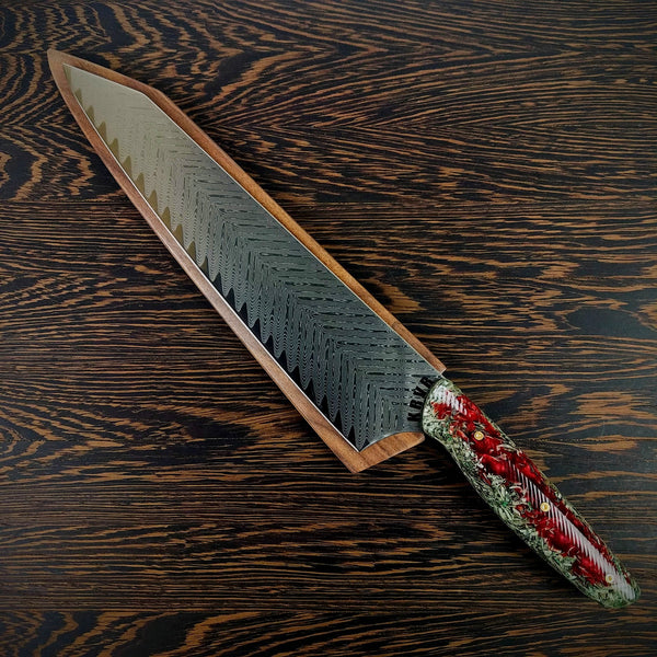 Blood Money - 10in (254mm) Damascus Gyuto - Sawtooth - Wavy Handle