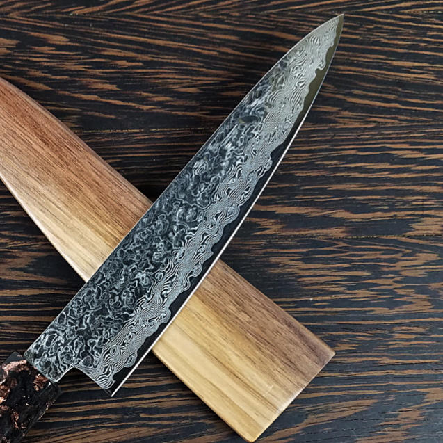 Petty 6in (150mm) Culinary Knife BLADE ONLY - Tsuchimi (Hammered) Damascus