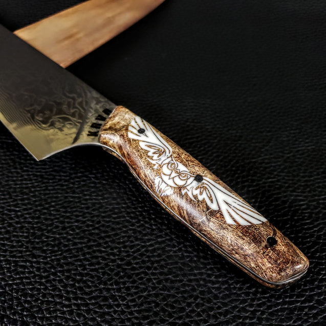 Dueling Spirits II - Gyuto K-tip 10in Chef's Knife - Raindrop Damascus