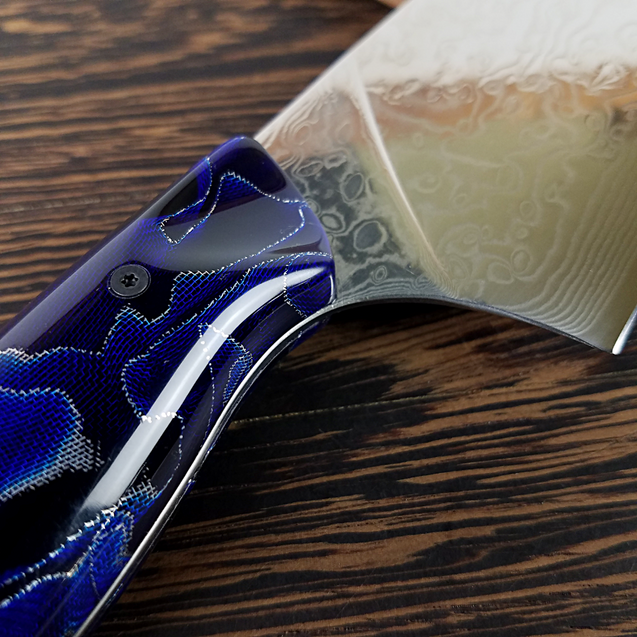 Blue Gravity - 10in (254mm) Damascus Gyuto - Raindrop - Smooth Handle